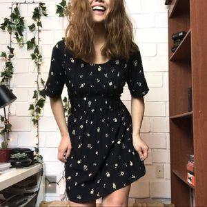 Vintage floral print black dress